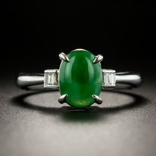 Estate Burmese Jade Cabochon and Diamond Ring - 2