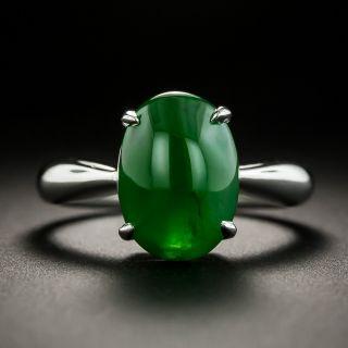 Estate Burmese Jade Solitaire Ring - 3