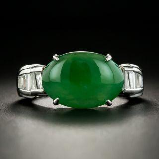 Estate Burmese Jadeite and Diamond Ring - 1