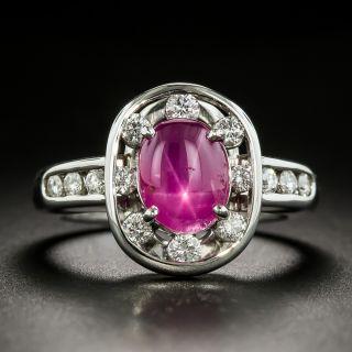 Estate Burmese No-Heat Star Ruby and Diamond Ring - 2