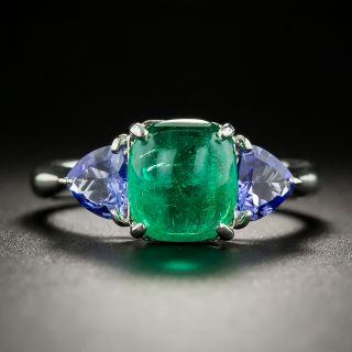 Estate Cabochon Emerald and Tanzanite Ring - 3