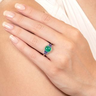 Estate Cabochon Emerald and Tanzanite Ring