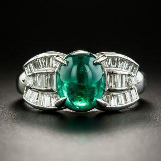 Estate Cabochon Emerald Platinum Diamond Ring - 1