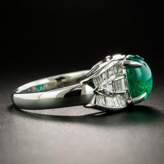 Estate Cabochon Emerald Platinum Diamond Ring