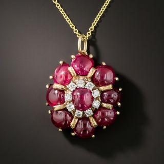 Estate Cabochon Ruby and Diamond Pendant Necklace - 3