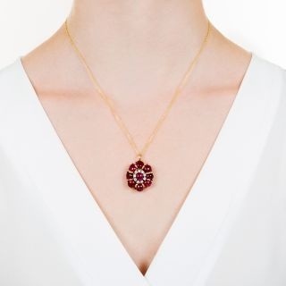 Estate Cabochon Ruby and Diamond Pendant Necklace