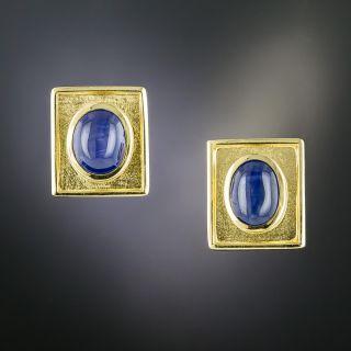 Estate Cabochon Sapphire Earrings  - 1