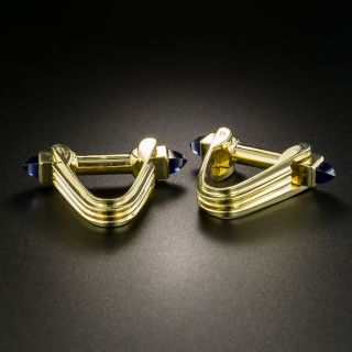 Estate Synthetic Sapphire Cabochon Cufflinks - 1