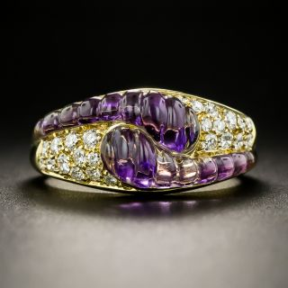Estate Carved Amethyst and Diamond Ring - 2