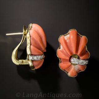 Estate Carved Coral and Diamond Earrings by TRIO