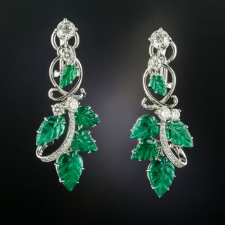 Estate Carved Emerald and Diamond Dangle Earrings - 2