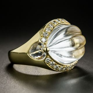 Estate Carved Rock Crystal and Diamond Ring