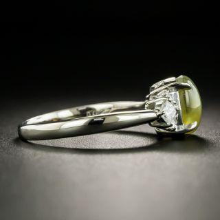 Estate Cat's-Eye Chrysoberyl Platinum Diamond Ring