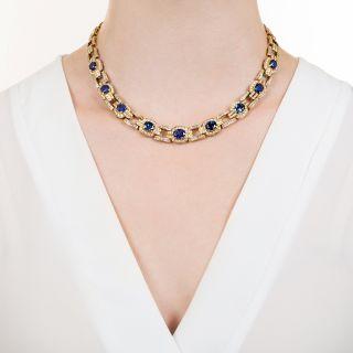 Estate Ceylon Sapphire and Diamond Link Necklace