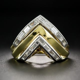 Estate Chevron Diamond Ring - 1