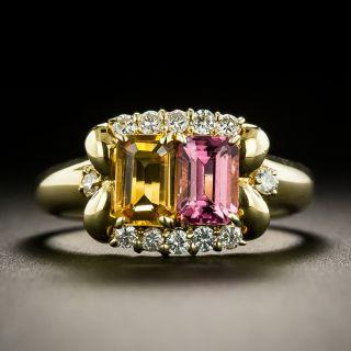 Estate Citrine, Pink Tourmaline and Diamond Ring - 1