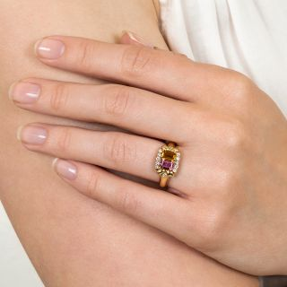 Estate Citrine, Pink Tourmaline and Diamond Ring