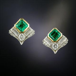 Estate Colombian Emerald and Diamond Earrings