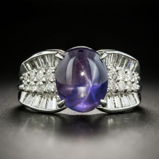 Estate Color Change Star Sapphire and  Diamond Ring - 1