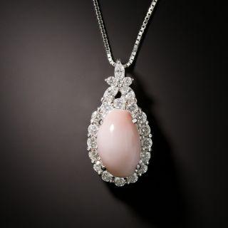 Estate Conch Pearl and Diamond Pendant - 1