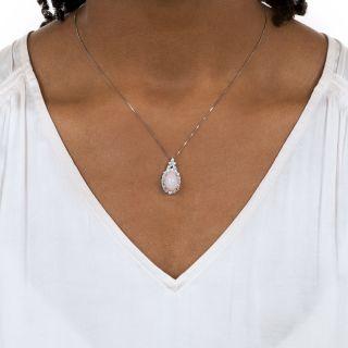 Estate Conch Pearl and Diamond Pendant