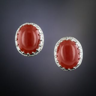 Estate Coral and Diamond Earrings - 1