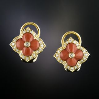 Estate Coral and Diamond Earrings - 2