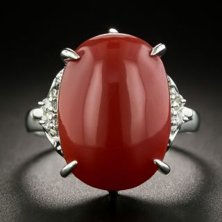 Estate Coral Cabochon and Diamond Ring - 1