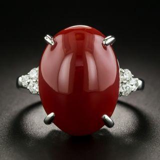 Estate Coral Cabochon and Diamond Ring - 2