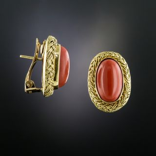 Estate Coral Cabochon Earrings - 2