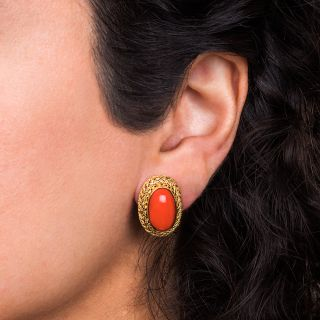 Estate Coral Cabochon Earrings