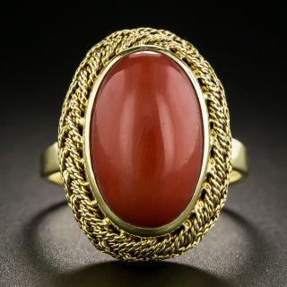 Estate Coral Cabochon Ring - 2