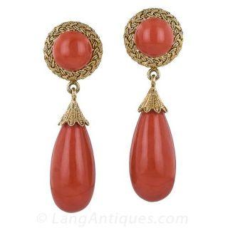 Estate Coral Drop Earrings - 1