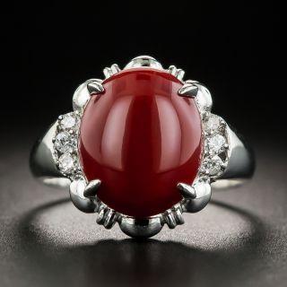 Estate Coral Platinum Diamond Ring - 2