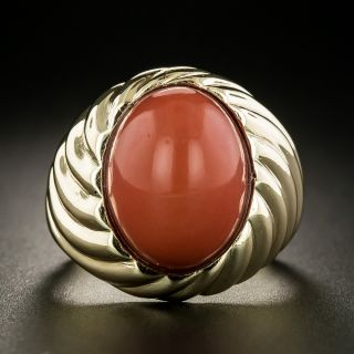 Estate Coral Ribbed Gold Ring - 3