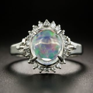 Estate Crystal Opal and Diamond Ring - 1