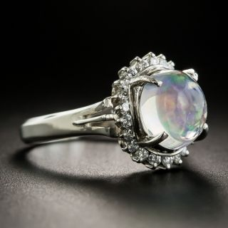 Estate Crystal Opal and Diamond Ring