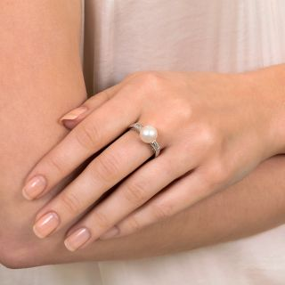 Estate Cultured Pearl and Diamond Ring