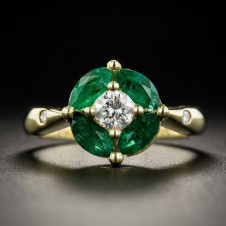 Estate Diamond and Emerald Ring - 1