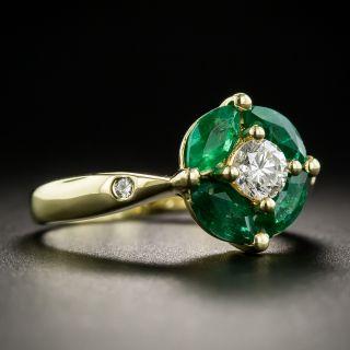 Estate Diamond and Emerald Ring