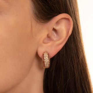 Estate Diamond and Ruby Half Hoop Earrings