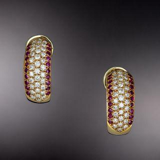 Estate Diamond and Ruby Half Hoop Earrings  - 1