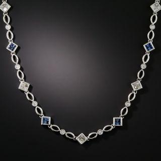 Estate Diamond and Sapphire Chain Necklace - 1