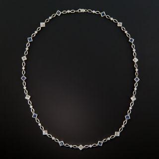 Estate Diamond and Sapphire Chain Necklace