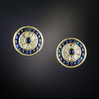 Estate Diamond and Sapphire Target Earrings  - 5