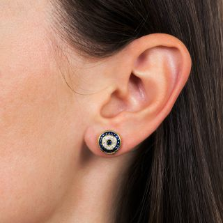 Estate Diamond and Sapphire Target Earrings