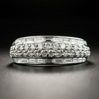 Estate Diamond Baguette and Round Brilliant Cut Band Ring - 1