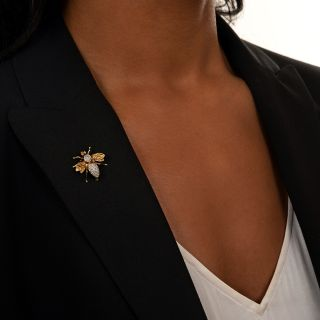 Estate Diamond Bee Brooch