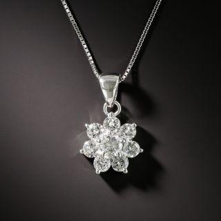 Estate Diamond Cluster Pendant Necklace - 2