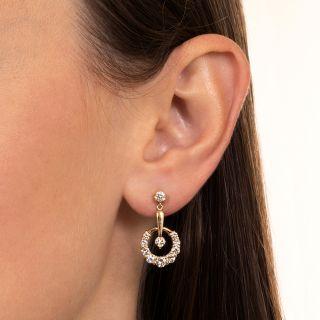 Estate Diamond Crescent Dangle Earrings